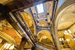 Interior view of ornate atrium inside Glasgow City Chambers with Italianate marble decoration, George Square, Glasgow, Scotland, United Kingdom.