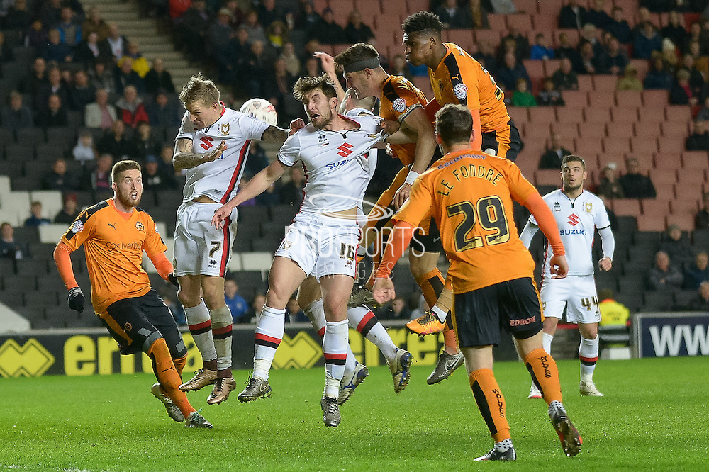 Dons  defend  during the Sky Bet Championship match between Milton Keynes Dons and Wolverhampton Wanderers at stadium:mk, Milton Keynes, England on 5 April 2016. Photo by Dennis Goodwin.