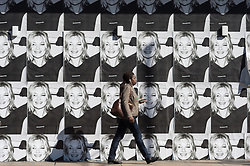 © Licensed to London News Pictures. 11/08/2017. London, UK. Posters of the supermodel Kate Moss decorate the front of the former British Homes Stores to advertise the new Reserved Polish clothes company who have taken over the store.  The teaser posters of Kate Moss modelling Reserved clothes are ahead of the Oxford Street store launch on September 6th. Photo credit: Ray Tang/LNP