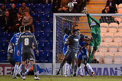 Colchester's Sam Walker punches  the ball clear  - Photo mandatory by-line: Mitchell Gunn/JMP - Tel: Mobile: 07966 386802 04/03/2014 - SPORT - FOOTBALL - Colchester Community Stadium - Colchester - Colchester v Rotherham - Sky Bet League 1