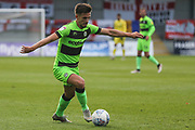 Forest Green Rovers Liam Shephard(2) on the ball during the EFL Sky Bet League 2 match between Exeter City and Forest Green Rovers at St James' Park, Exeter, England on 27 October 2018.
