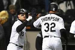 April 21, 2018 - Chicago, IL, U.S. - CHICAGO, IL - APRIL 21: Chicago White Sox center fielder Trayce Thompson (32) celebrates his solo home run with Chicago White Sox center fielder Adam Engel (15) during a game between the and the Houston Astros the Chicago White Sox on April 21, 2018, at Guaranteed Rate Field, in Chicago, IL. The Astros won 10-1. (Photo by Patrick Gorski/Icon Sportswire) (Credit Image: © Patrick Gorski/Icon SMI via ZUMA Press)