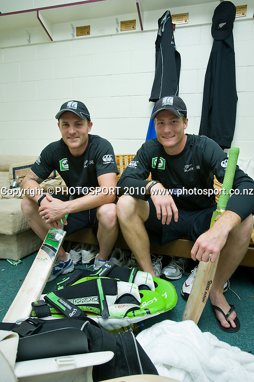 Centurions Brendon McCullum, who scored 185 runs, and Martin Guptill, who scored 189, in the team dressing room after day 2 of the one off test cricket match between New Zealand Black Caps and Bangladesh at Seddon Park, Hamilton, New Zealand, Tuesday 16 February 2010. Photo: Stephen Barker/PHOTOSPORT