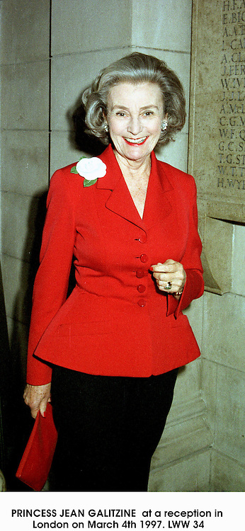 PRINCESS JEAN GALITZINE  at a reception in London on March 4th 1997.LWW 34