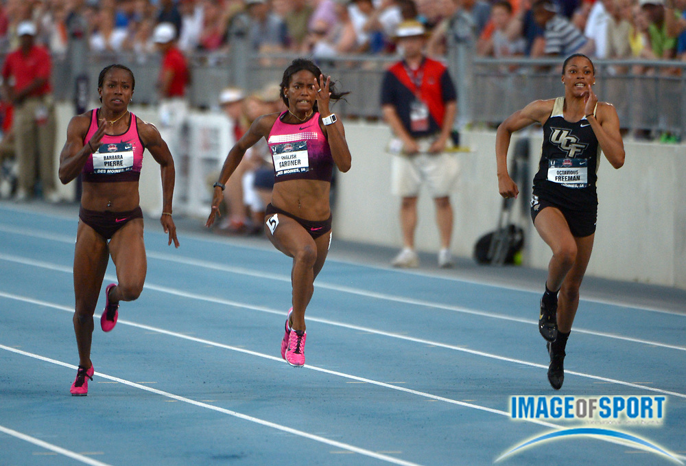 Jun 21, 2013; Des Moines, IA, USA; English Gardner (center) defeats Barbara Pierre (left) and Octavious Freeman of Central Florida to win the womens 100m in 10.85 in the 2013 USA Championships at Drake Stadium.