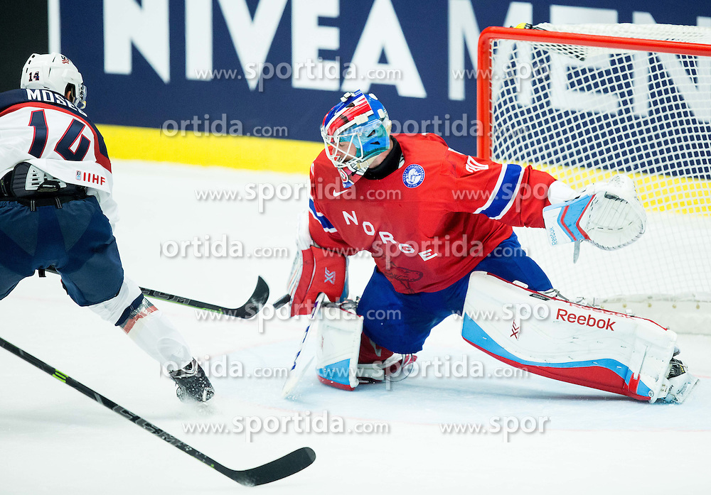 Steve Moses of USA vs Lars Haugen of Norway during Ice Hockey match between Norway and USA at Day 2 in Group B of 2015 IIHF World Championship, on May 2, 2015 in CEZ Arena, Ostrava, Czech Republic. Photo by Vid Ponikvar / Sportida