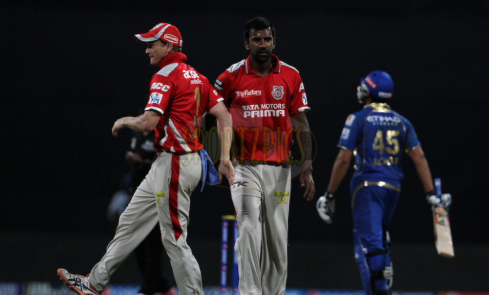 Lakshmipathy Balaji of the Kings X1 Punjab celebrates after taking the wicket of Rohit Sharma captain of the Mumbai Indians during match 22 of the Pepsi Indian Premier League Season 2014 between the Mumbai Indians and the Kings XI Punjab held at the Wankhede Cricket Stadium, Mumbai, India on the 3rd May  2014<br /> <br /> Photo by Vipin Pawar / IPL / SPORTZPICS<br /> <br /> <br /> <br /> Image use subject to terms and conditions which can be found here:  http://sportzpics.photoshelter.com/gallery/Pepsi-IPL-Image-terms-and-conditions/G00004VW1IVJ.gB0/C0000TScjhBM6ikg