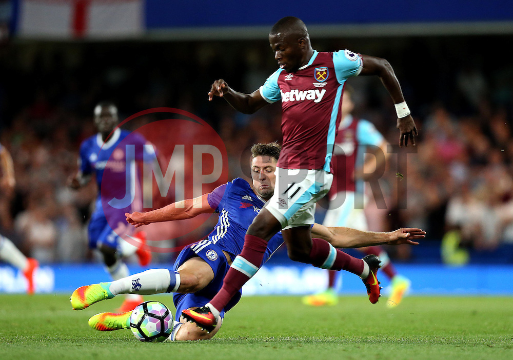 Gary Cahill of Chelsea tackles Enner Valencia of West Ham United - Mandatory by-line: Robbie Stephenson/JMP - 15/08/2016 - FOOTBALL - Stamford Bridge - London, England - Chelsea v West Ham United - Premier League