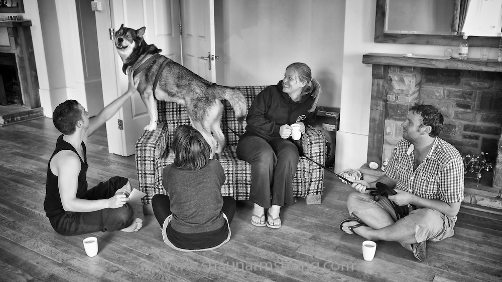 Full House Theatre Company devising their original work The Snow Dog at Caer Llan centre in Wales 2011.