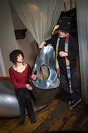 Singer Lail Arad with her father, the designer Ron Arad, at his studio in Chalk Farm, London, UK.