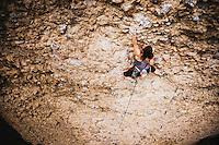 Jacki Arevalo climbs Forbiddence, 5.12a, Maple Canyon, Utah.