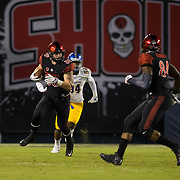 21 October 2016: The San Diego State Aztecs football team takes on the San Jose State Spartans Friday night at Qualcomm Stadium. San Diego State tight end David Wells (88) seen here making a reception in the first half. The Aztecs lead the Spartans 21-3 at halftime. www.sdsuaztecphotos.com
