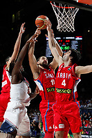 United States´s Faried (L) and Serbia´s Katic and Teodosic during FIBA Basketball World Cup Spain 2014 final match between United States and Serbia at `Palacio de los deportes´ stadium in Madrid, Spain. September 14, 2014. (ALTERPHOTOSVictor Blanco)