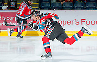 KELOWNA, CANADA - OCTOBER 10: Henrik Nyberg #21 of the Kelowna Rockets warms up on the ice as the Spokane Chiefs visit the Kelowna Rockets on October 10, 2012 at Prospera Place in Kelowna, British Columbia, Canada (Photo by Marissa Baecker/Shoot the Breeze) *** Local Caption ***
