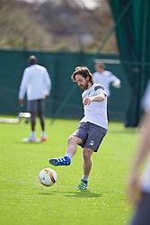 LIVERPOOL, ENGLAND - Wednesday, April 13, 2016: Liverpool's Joe Allen during a training session at Melwood Training Ground ahead of the UEFA Europa League Quarter-Final 2nd Leg match against Borussia Dortmund. (Pic by David Rawcliffe/Propaganda)