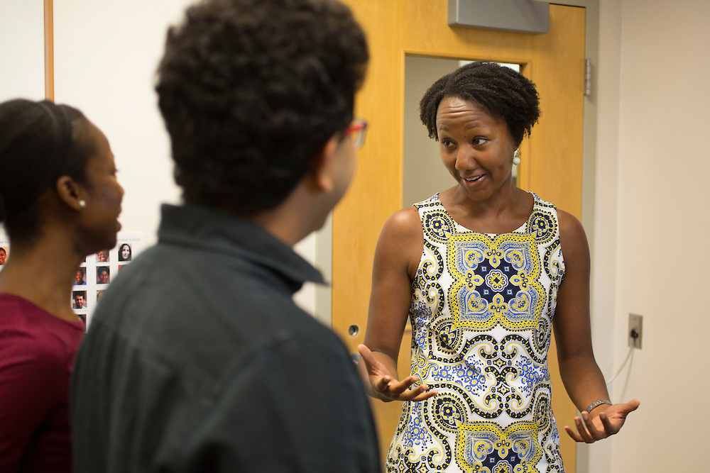 Dr. Sherilynn Black, a neuroscientist who created and runs the Office of Biomedical Diversity, speaks with program participants Ife Ayeni, left, and Nandan Gokhale, right, on the campus of Duke University in Durham, North Carolina, Friday, June 24, 2016. Few college students from underrepresented groups seek doctorates, particularly in STEM fields. Duke University&rsquo;s medical school created the Office For Biomedical Diversity six years ago to see if they could change that equation. Now, not only are more minority students are entering Duke's biomedical PhD programs, but they&nbsp;are performing better once there.&nbsp;<br /> <br /> D.L. Anderson for The Chronicle of Higher Education