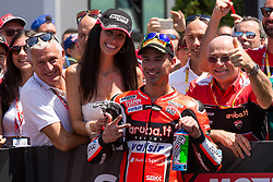 July 8, 2018 - Misano, RN, Italy - Marco Melandri of Aruba.it Racing - Ducati celebrate with the team the third place on race 2 of the Motul FIM Superbike Championship, Riviera di Rimini Round, at Misano World Circuit ''Marco Simoncelli'', on July 08, 2018 in Misano, Italy  (Credit Image: © Danilo Di Giovanni/NurPhoto via ZUMA Press)