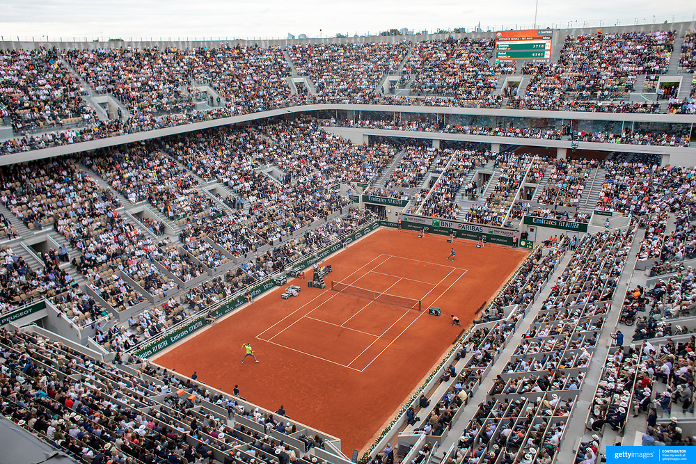 PARIS, FRANCE June 09.  A general view of Rafael Nadal of Spain in action against Dominic Thiem of Austria during the Men's Singles Final on Court Philippe-Chatrier at the 2019 French Open Tennis Tournament at Roland Garros on June 9th 2019 in Paris, France. (Photo by Tim Clayton/Corbis via Getty Images)