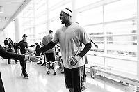BEAVERTON, OR - NOVEMBER 21:  LeBron James works out during a Nike NBA SPARQ training event in Beaverton, Oregon on November 21, 2011.  (Photo by Jed Jacobsohn)