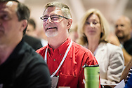 A delegate enjoys a lighthearted moment during a Floor Committee discussion at the 66th Regular Convention of The Lutheran Church–Missouri Synod on Sunday, July 10, 2016, at the Wisconsin Center in Milwaukee. LCMS/Frank Kohn