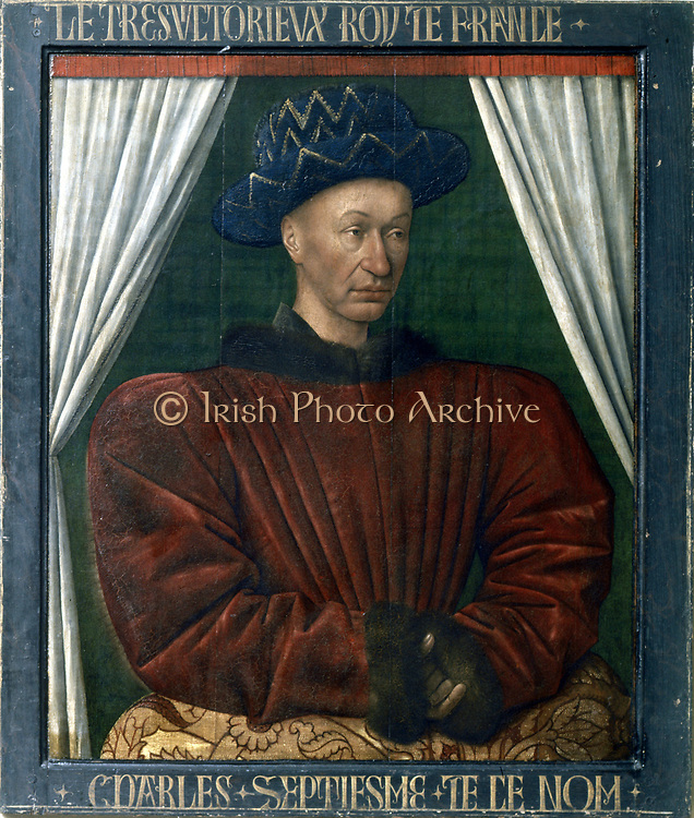 Charles VII (1403-1461) king of France from 1422. Portrait by Jean Fouquet (1403-1461)
