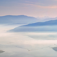Misty Sunrise overlooking Cahersiveen and kerry highlands and Macgillycuddy's Reeks, County Kerry, Ireland / vl108