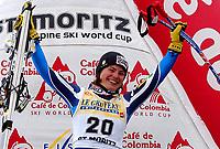 Alpint: 22.12.2001 St.Moritz, Schweiz,<br />Die Italienerin KAREN PUTZER jubelt nach ihrem Sieg am Samstag (22.12.2001) beim Ski Alpin Weltcup Super-G der Damen im schweizerischen St.Moritz.<br /><br />Foto: Digitalsport