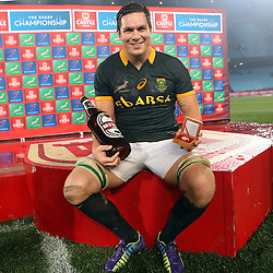 PRETORIA, SOUTH AFRICA - AUGUST 16: Man of the match Francois Louw of South Africa during The Castle Rugby Championship match between South Africa and Argentina at Loftus Versfeld on August 16, 2014 in Pretoria, South Africa. (Photo by Steve Haag)