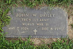 31 August 2017:   Veterans graves in Park Hill Cemetery in eastern McLean County.<br /> <br /> John W Dailey  Tec5 US Army  World War II  May 7 1924  Dec 8 1976