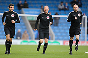 Match officials Referee Martin Coy, Assistant referee Craig Taylor and Assistant referee Kevin Morris ahead of the EFL Sky Bet League 2 match between Chesterfield and Exeter City at the Proact stadium, Chesterfield, England on 18 November 2017. Photo by Aaron  Lupton.