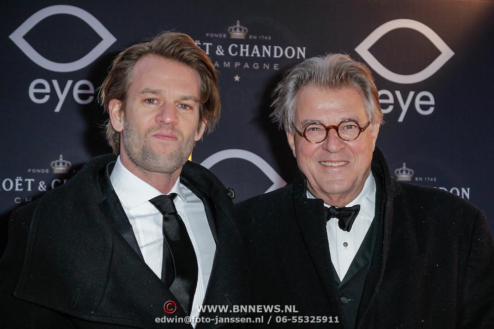 NLD/Amsterdam/20120404 - Opening filmmuseum Eye, Jeroen Krabbe en zoon
