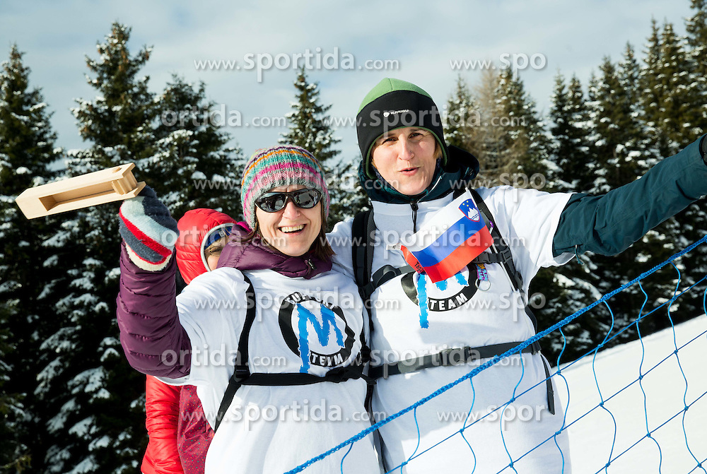 Supporters of Slovenia during the Parallel Giant Slalom at FIS World Championships of Snowboard and Freestyle 2015, on January 23, 2015 at the WM Piste in Lachtal, Austria. Photo by Vid Ponikvar / Sportida