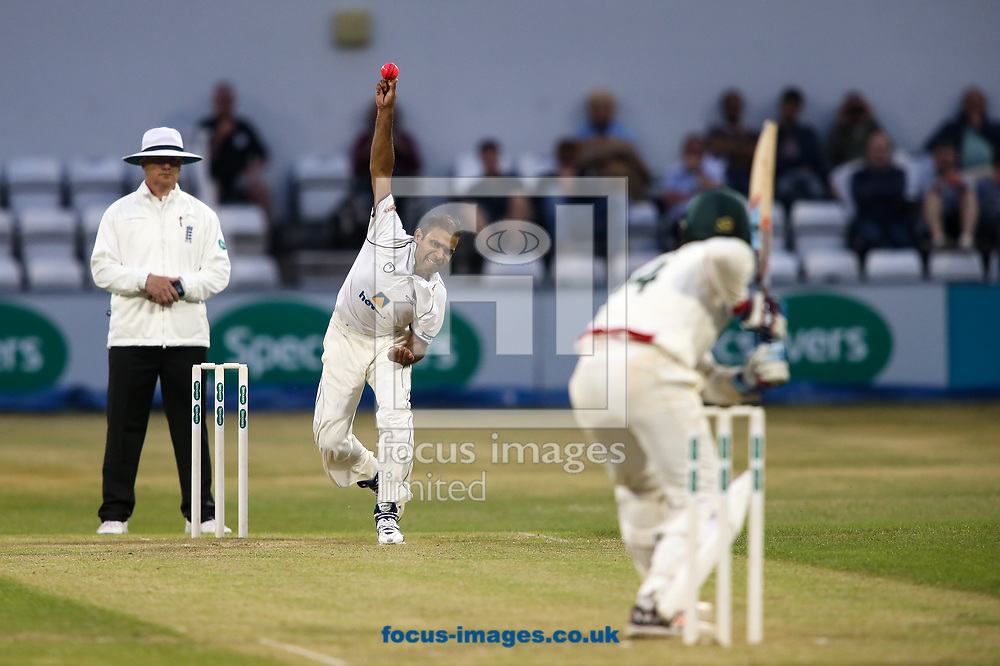 Muhammad Azhar Ullah of Northamptonshire CCC in delivery stride with the pink ball during the Specsavers County C'ship Div Two match at the County Ground, Northampton<br /> Picture by Andy Kearns/Focus Images Ltd 0781 864 4264<br /> 26/06/2017
