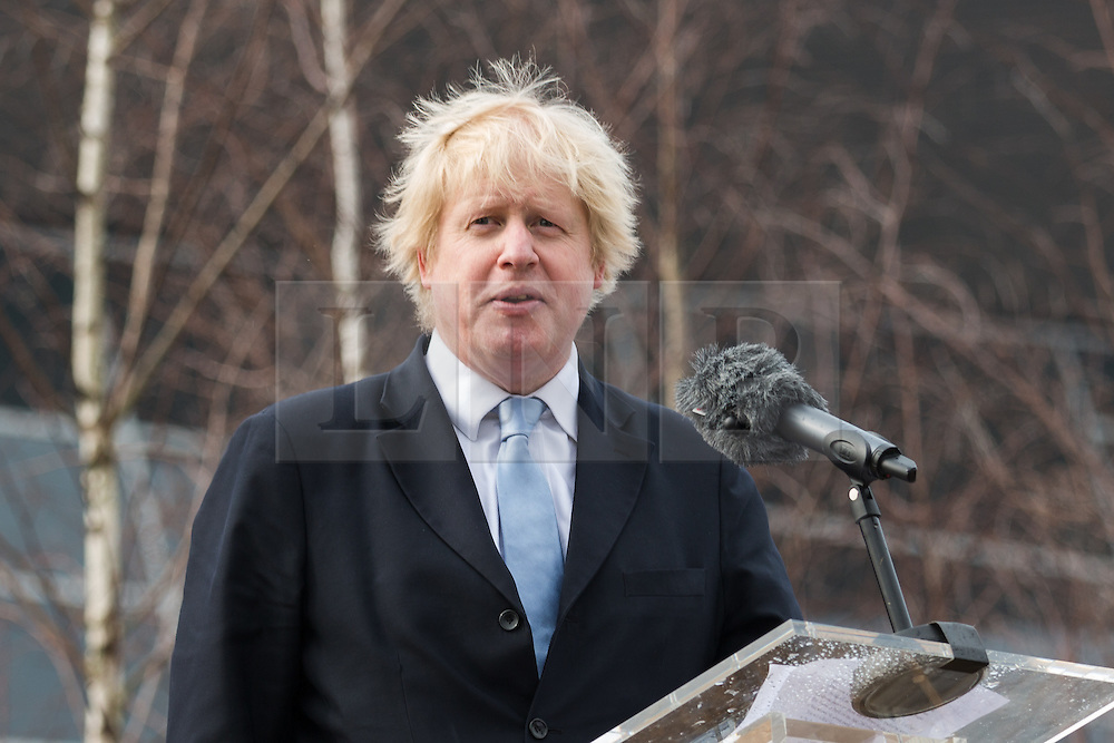 © Licensed to London News Pictures. 17/03/2015. London, UK. Mayor of London, Boris Johnson speaks at a special ceremony to unveil a steel sculpture crafted out of the 9/11 Twin Towers' steel wreckage at the Queen Elizabeth Olympic Park in Stratford today. The artwork by American artist, Miya Ando commemorates the 10th anniversary of the 9/11 attacks and stands at 28 feet tall and weighs over 4 tons. Photo credit : Vickie Flores/LNP