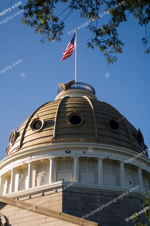 Dedham Court House dome with American flag.