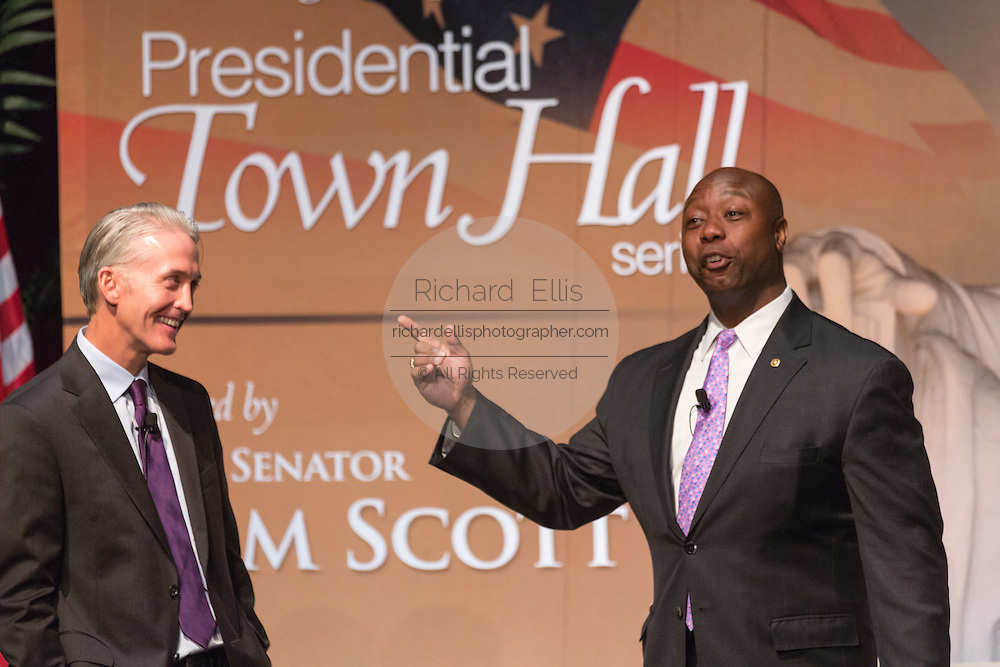 U.S. Senator Tim Scott, right, with Rep. Trey Gowdy during Tim's Presidential Town Hall meeting at the Performing Arts Center August 7, 2015 in North Charleston, SC. The event showcases republican candidates in a town hall style meetings hosted by Scott and Gowdy.