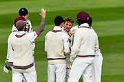 Wicket - Dom Bess of Somerset celebrates taking the wicket of Steven Croft of Lancashire during the Specsavers County Champ Div 1 match between Somerset County Cricket Club and Lancashire County Cricket Club at the Cooper Associates County Ground, Taunton, United Kingdom on 14 September 2017. Photo by Graham Hunt.