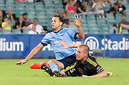 February 8, 2017: Sydney FC forward Bobo (9) almost scores at Round 19 of the 2017 Hyundai A-League match, between Sydney FC and Wellington Phoenix played at Allianz Stadium in Sydney. Sydney FC won the game 3-1.