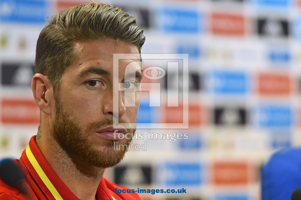 Sergio Ramos of Spain during the Spanish football team's press conference at Estadio Jos&eacute; Rico P&eacute;rez, Alicante, Spain.<br />