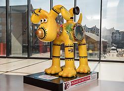"© Licensed to London News Pictures.  02/07/2018; Bristol, UK. Gromit Unleashed 2. ""Oceans 2"" Gromit character, one of the Trailblazer interactive sculptures, installed at M Shed for the Gromit Unleashed 2 sculpture trail. Gromit Unleashed 2, which officially begins today on 02 July, will see the Academy Award®-winning character Gromit by Nick Park at Aardman Animations returning to Bristol in 2018 for the second time on sculpture trails to raise money for  the Grand Appeal charity. The character of Gromit will be joined by Wallace and their arch nemesis Feathers McGraw. The trail will feature over 60 giant sculptures designed by high-profile artists, designers, innovators and local talent. Sculptures will be positioned in high footfall and iconic locations around Bristol and the surrounding area. Photo credit: Simon Chapman/LNP"