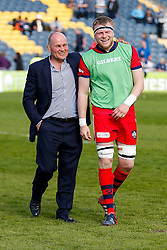 Bristol Rugby Director of Rugby Andy Robinson shares a joke with unused replacement Joe Joyce after Bristol win the match 26-30 to finish top of the Championship table going into the playoffs - Photo mandatory by-line: Rogan Thomson/JMP - 07966 386802 - 25/04/2015 - SPORT - Rugby Union - Worcester, England - Sixways Stadium - Worcester Warriors v Bristol Rugby - Greene King IPA Championship.