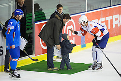 Anze Kopitar of Slovenia as best players and ex-hockey players Robert Ciglenecki with son during ice-hockey match between Austria and France in Slovenia Euro ice hockey challenge, on November 8, 2011 at Hala Tivoli, Ljubljana, Slovenia. (Photo By Matic Klansek Velej / Sportida)