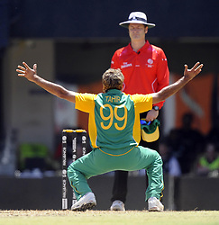 South Africa's Imran Tahir makes an appeal to the umpire during the ICC Cricket World Cup match at the MA Chidambaram Stadium, Chennai, India.