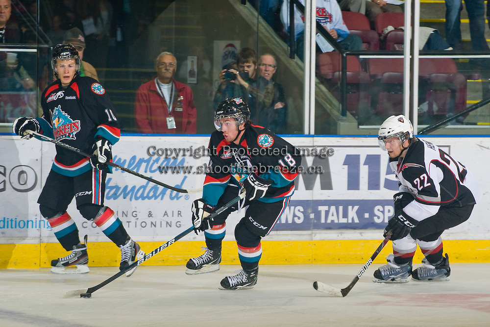 KELOWNA, CANADA, OCTOBER 1: Shane McColgan #18 of the Kelowna Rockets skates against the Vancouver Giants on October 1, 2011 at Prospera Place in Kelowna, British Columbia, Canada (Photo by Marissa Baecker/Getty Images) *** Local Caption ***