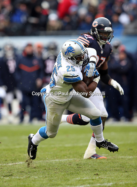 Detroit Lions running back Theo Riddick (25) is chased by Chicago Bears outside linebacker Willie Young (97) as he catches an 18 yard pass for first and goal from the Chicago Bears 4 yard line in the fourth quarter during the NFL week 17 regular season football game against the Chicago Bears on Sunday, Jan. 3, 2016 in Chicago. The Lions won the game 24-20. (©Paul Anthony Spinelli)