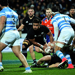 Nepo Laulala passes from a ruck during the Rugby Championship match between the NZ All Blacks and Argentina Pumas at Yarrow Stadium in New Plymouth, New Zealand on Saturday, 9 September 2017. Photo: Dave Lintott / lintottphoto.co.nz