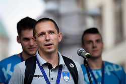 Sasa Praprotnik, head coach of Slovenia during reception of Slovenian U20 handball players after winning gold at 2018 EHF U20 Men's European Championship, on July 30, 2018 in Ljubljana, Slovenia. Photo by Urban Urbanc / Sportida