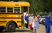The final bus ride for Inter Lakes seniors as they arrive at Prescott Park Saturday morning prior to their commencement ceremony.  (Karen Bobotas/for the Laconia Daily Sun)