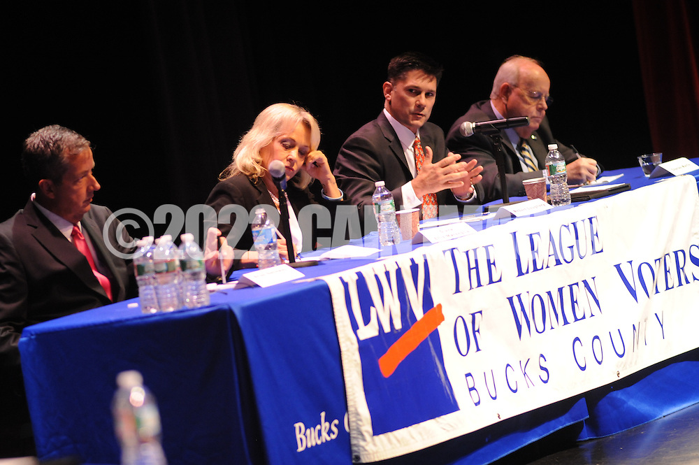 From left, Bucks County Commissioner candidates Brian Galloway (D-Pa.), Diane Ellis-Marseglia (D-Pa.) and Republican candidates Robert Loughery (R-Pa.) and Charles Martin (R-Pa.) participate in the League of Women Voters Debate  Friday October 23, 2015 at the Bucks County Community College auditorium in Newtown, Pennsylvania. (Photo by William Thomas Cain)
