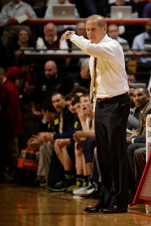 Michigan head coach John Beilein as Michigan played Indiana in an NCCA college basketball game in Bloomington, Ind., Sunday, Feb. 8, 2015. (AJ Mast / Photo))